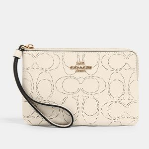 COACH Zip Wristlet In Signature Leather Chalk NWT